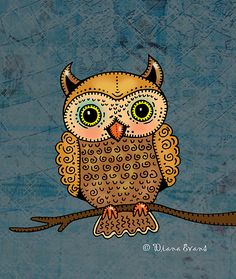 drawing a little owl on a book page with watercolor???
