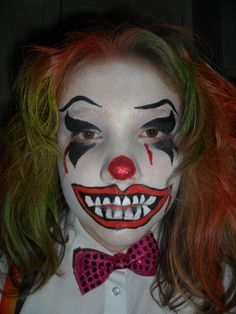 Horror Face Painting | Displaying 20> Images For - Scary Clown Face Paint Designs...