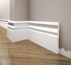 Listwa przypodłogowa LPC-09 - wysoki cokół, który świetnie nadaje się zarówno do pomieszczeń klasycznych jak i nowoczesnych. Zapraszamy na naszą stronę internetową! Skirting Boards, Crown Molding, Bathtub, Stairs, Diy Projects, Flooring, Interior Design, Elegant, Home Decor