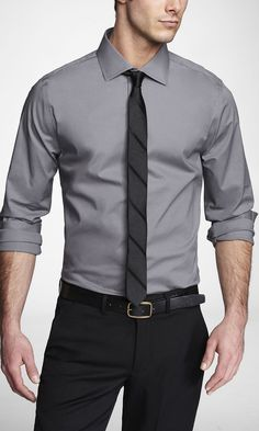 EXTRA SLIM 1MX SPREAD COLLAR SHIRT | Express I know people say you should not wear black except to a funeral. But black and grey is a sweet combination that is undervalued.