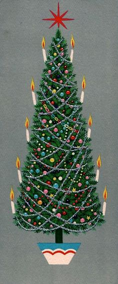 vintage Christmas tree with candles