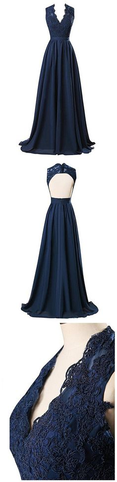 Women's Long V-neck Bridesmaid Dresses Chiffon Prom Gowns