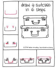 Learn to draw a suitcases in 6 steps : learn to draw Kawaii Drawings, Doodle Drawings, Easy Drawings, Doodle Art, Drawing Lessons, Drawing Tips, Drawing Art, Step By Step Drawing, Bullet Journal Inspiration