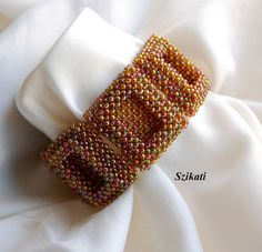 Iridescent Bronze Seed Bead Cuff Bracelet Statement by Szikati