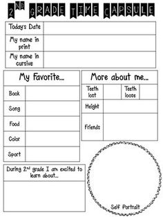 """This year I plan to have my students fill out this one page """"Time Capsule"""" on the first day. I will keep them in a file somewhere safe (hopefully I will remember where I put it) and then at the end of the year they will fill out the same sheet again. Then, I will give student's the original so they can compare their handwriting and answers to see how they have changed and grown!Included in this file are sheets for 2nd and 3rd grade."""