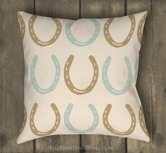 Horse Shoes Pattern Equestrian Throw Pillow - The Painting Pony