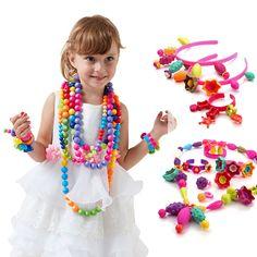 Diy Beaded Toys Child Handmade Hand-made Beaded Toys Nursery Handmade Bracelet Necklace Material Girl Create Gift Arts & Crafts, Diy Toys