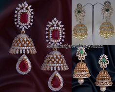 Diamond Jhumkas by Vasundhara Jewellers   Jewellery Designs