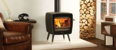 A wood stove that would fit well into a mid-century modern 1960s style home.