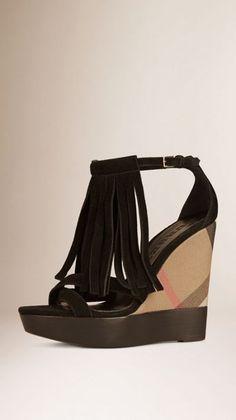 7c89df6354 Suede Fringe Platform Wedges Burberry Shoes, Tartan Pattern, Lace Print,  Black Suede,