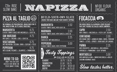 Napizza Wall Menu - Closeup