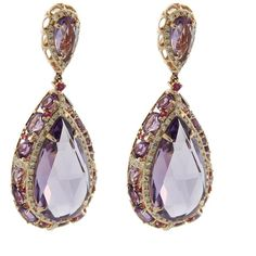 Pre-owned 14K Rose Gold Amethyst and Diamond Drop Earrings (€890) ❤ liked on Polyvore featuring jewelry, earrings, accessories, diamond jewelry, amethyst jewelry, 14k earrings, rose gold jewelry and purple diamond earrings