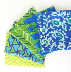 Fat Quarter Bundles - Blue and Green  - Indian cotton fabric, ₹345.00