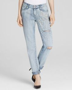 Paige Denim Embellished Pearls Destructed Jimmy Jimmy Skinny Jeans in Dolly   Bloomingdale's