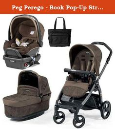 Peg Perego - Book Pop-Up Stroller Travel System with Bag - In Circles Brown. Make your wish for the ideal stroller come true with the Book Pop-Up. Equipped with a premium chassis, folding bassinet and reversible seat, the Book Pop-Up offers the ultimate in style, comfort and mobility. Constructed with a strong, yet lightweight, aluminum chassis. Provides a solid base for controlled movement and stability. This Travel System includes the Book Pop-Up Stroller with matching Car Seat and…