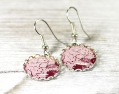 Pink Red Flower Pastel Nature Wine Woodland Earrings by CutTheFish, $22.00