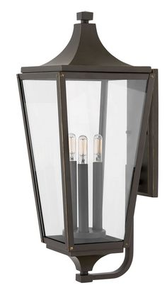 Jaymes - Three Light Outdoor Large Wall Mount Oil Rubbed Bronze Finish with Clear Glass Front Door Lighting, Porch Lighting, Outdoor Lighting, Porch And Balcony, Porch Wall, Front Porch, Blue Siding, Resin Planters, Hinkley Lighting