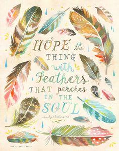 Art Print de plumes   Espérons que   Emily Dickinson devis aquarelle   Art…