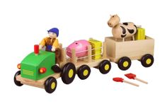 A beautiful play set with a tractor and two trailers. The set includes the farmer, a cow, a pig, 4 hay bails and even a rake and shovel! $33.95