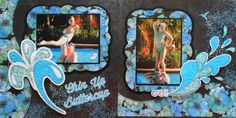 Chin Up Buttercup - This is a Kiwi Lane scrapbook page idea. This pool page has a splash theme and pretty frames. The left splash is from CM Total Sports. Travel Scrapbook 28 - Christmas in Florida - Me and My Cricut