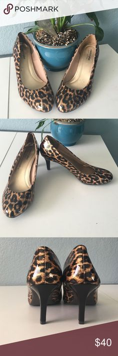 Animal Print Heels These gorgeous animal print heels are perfect for a day or evening wear! It comes in a size 9 & 1/2 and heel height is 3inches! I wear a size 9 and it's a little bit loose on me. These shoes are comfortable though! Let me know if you're interested! Comfort Plus by Predictions Shoes Heels