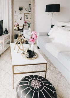 black white gold modern glam apartment decor                                                                                                                                                                                 More