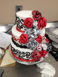 DIY Wedding Cake and paper flowers that I made. Red white and black