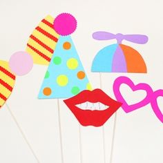 Make fun photobooth props for your next party or special event. Step-by-step tutorial and free templates!