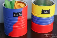 Upcycled DIY Toy Storage From Old Coffee Cans with Ace Blogger @designertrapped