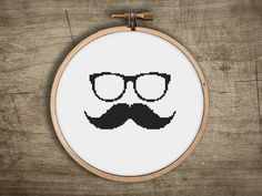 modern cross stitch pattern small mustache sunglass by futska