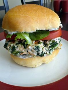 Spinach and Feta Turkey Burgers With Tza-Tziki Sauce