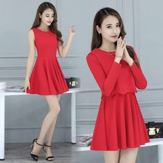 Spring Red Women Dress Two Piece Suit Kleid Kurz Korean Runway Dresses 2016 Christmas Alibaba China Skater Dames Jurken 8008♦️ SMS - F A S H I O N 💢👉🏿 http://www.sms.hr/products/spring-red-women-dress-two-piece-suit-kleid-kurz-korean-runway-dresses-2016-christmas-alibaba-china-skater-dames-jurken-8008/ US $41.85