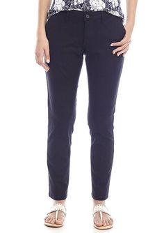 Crown & Ivy Women's Stretch Linen Straight Leg Classic Fit Pants Navy Size 4 New #CrownIvy #CasualPants #Everyday