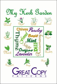 New from Great Copy! My Herb Garden Embroidery Designs