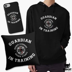 """'Vampire Academiy – Guardian In Training' design by BadCat Designs. Saint Vladimir's Academy trains dhampirs to become guardians to the Moroi vampires and protect them against the Strigoi. It quotes the acadamy's motto: """"Higher Learning. Higher Stakes."""" #VampireAcademy"""