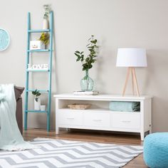 Sintra mueble Tv 130cm Dresser As Nightstand, Floating Nightstand, Interior Accessories, Room Colors, White Wood, Colorful Decor, Coffee Shop, Ladder Decor, Interior Decorating