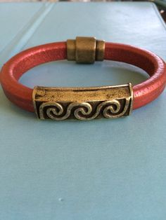 Brass Design and Leather Bracelet by joytoyou41 on Etsy