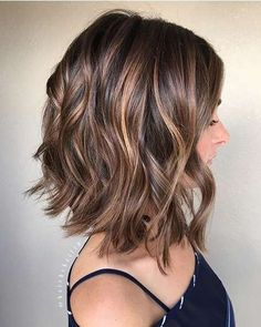 Balayage, Curly Lob Hairstyles - Shoulder Length Hair Cuts for Women and Girls Eyebrow Makeup Tips Brown Balayage, Balayage Lob, Brown Lob, Short Balayage, Balayage Brunette, Blonde Ombre, Dark Brown Short Hair, Brown Hair With Fringe, Brown Hair Cuts