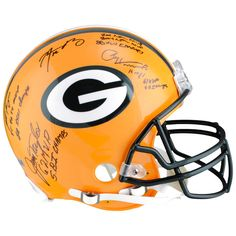 "Jim Taylor, Paul Hornung, Brett Favre, Aaron Rodgers Green Bay Packers Fanatics Authentic Multi-Signed Riddell Pro-Line Helmet with ""MVP and Super Bowl Champion"" Inscriptions - $2719.99"