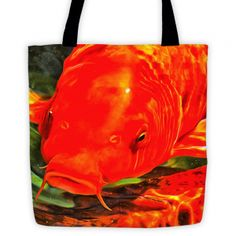 koi art tote: orange koi close up
