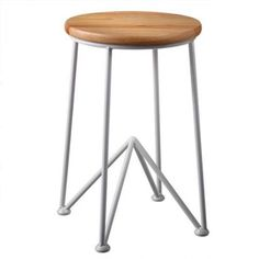 "18.25"" Short Modern Angular White Bar Stool with Round Wooden Seat"