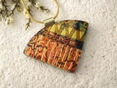 Wedge Red Golden Copper Necklace Dichroic Glass by ccvalenzo