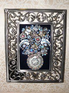 Vintage Jewelry Flower Pot - Blues & Silver