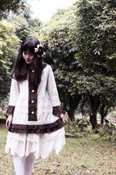 Custom made - Wild flowers Blue onepiece cotton dress include head piece  My shop link: https://www.facebook.com/yellowbirdintheautumnrain #Morigirl #Mori #Morikei #Naturalkei