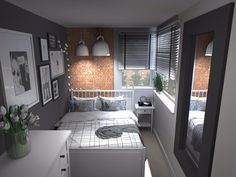 Aranżacja małej sypialni z czerwoną cegłą