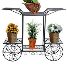 6 TIER Black 4 Wheeler Metal Flower Pot Plant Stand Garden Indoor Decor  Beauty