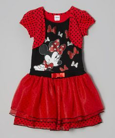 Take a look at this Black Polka Dot & Bows Minnie Dress - Toddler by Disney on #zulily today!