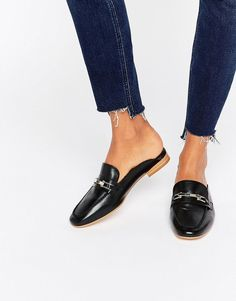 5bf577c3d9ca87 Faith Backless Leather Loafers Leder-slipper
