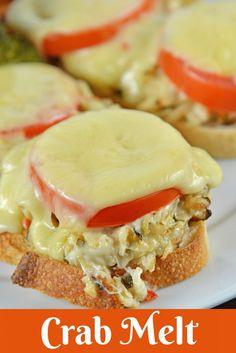 Crab Melt Recipe - The Best Open Faced Sandwich Recipe Can Crab Meat Recipes, Seafood Recipes, Cooking Recipes, Canned Crab Recipes, Frugal Recipes, Shellfish Recipes, Crab Sandwich, Sandwich Recipes, Sandwich Ideas