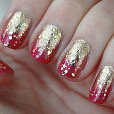 Fusha and Fade-To-Gold Manicure. This would be a great look for Christmas!